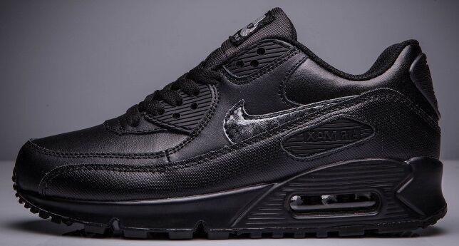 1a341dff Кроссовки Nike Air Max 90 Кожаные Черные купить в TEMPOSHOP.