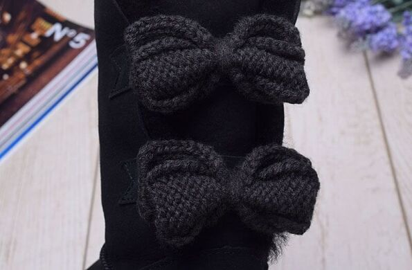 купить UGG Short Bailey Knit Bow Black в Украине