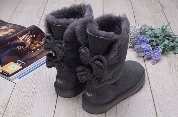 купить UGG Short Bailey Knit Bow Grey в Украине